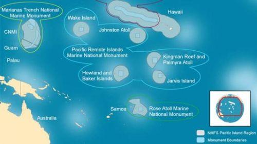 Limites actuelles du Pacific Remote Islands Marine National Monument (cercles gris à l'intérieur de la limite bleue). | NOAA