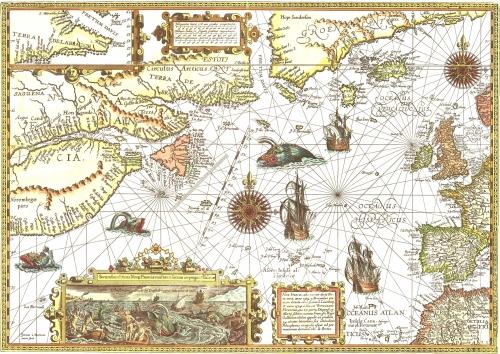 Carte de chasse à la baleine dans l'Atlantique nord