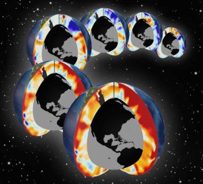 Sections du Pacifique et de l'Atlantique sud montrant le réchauffement des couches supérieures de l'océan au cours des six dernières décennies (1955-2011). Les couleurs rouges indiquent le réchauffement et les bleues, le refroidissement.Credit : Image by Timo Bremer/LLNL