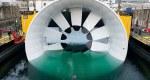 D'une taille de 16 mètres de diamètre pour un poids de 300 tonnes, cette hydrolienne sera immergée à 40 mètres de profondeur au large de l'archipel de Bréhat, dans la Manche. - Photo DCNS