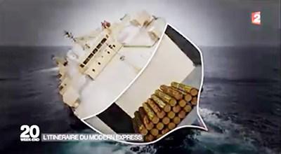 L'hypothèse, émise notamment par France2, de bois en grumes ayant roulé et s'étant entassé d'un seul côté du navire. © France 2 capture d'écran par Gabonreview
