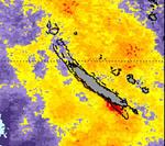 © Source NOAALe zoom sur la Nouvelle-Calédonie montre des anomalies de température sur le lagon sud-ouest ces derniers semaines.