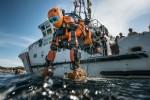 Après sa première plongée sur l'épave de la Lune, vaisseau amiral de Louis XIV perdu le 6 novembre 1664 au large de Toulon, le robot humanoïde Ocean One est remonté à bord du navire de recherche André-Malraux. © Teddy Seguin