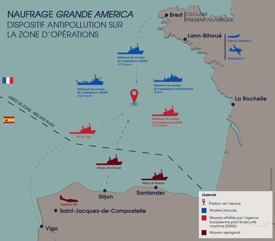 Carte Cote Atlantique France Espagne.Maree Noire L Accord Franco Espagnol Plan Biscaye A L